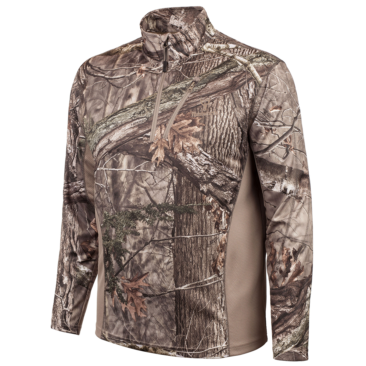 Huntworth Men's Bird's Eye Mesh Quarter-Zip Pullover, Hidd'n Camo