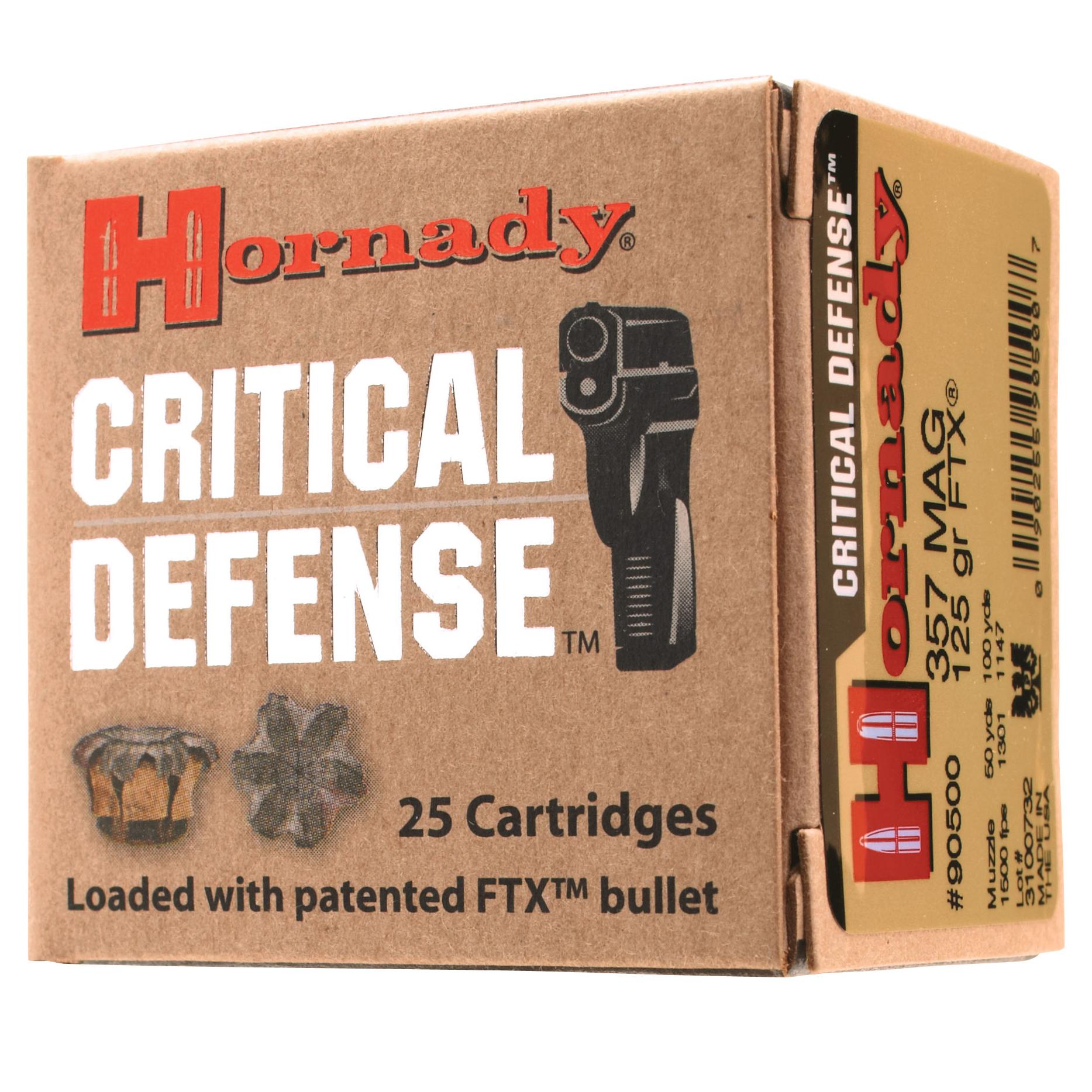 Hornady Critical Defense Handgun Ammo, 9x18mm Makarov, 95-gr, FTX, 25 Rounds
