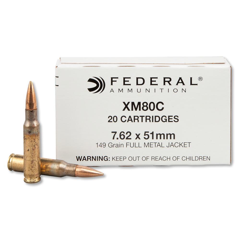 Federal XM80C Rifle Ammunition, 7.62x51mm NATO, 149-gr, FMJ