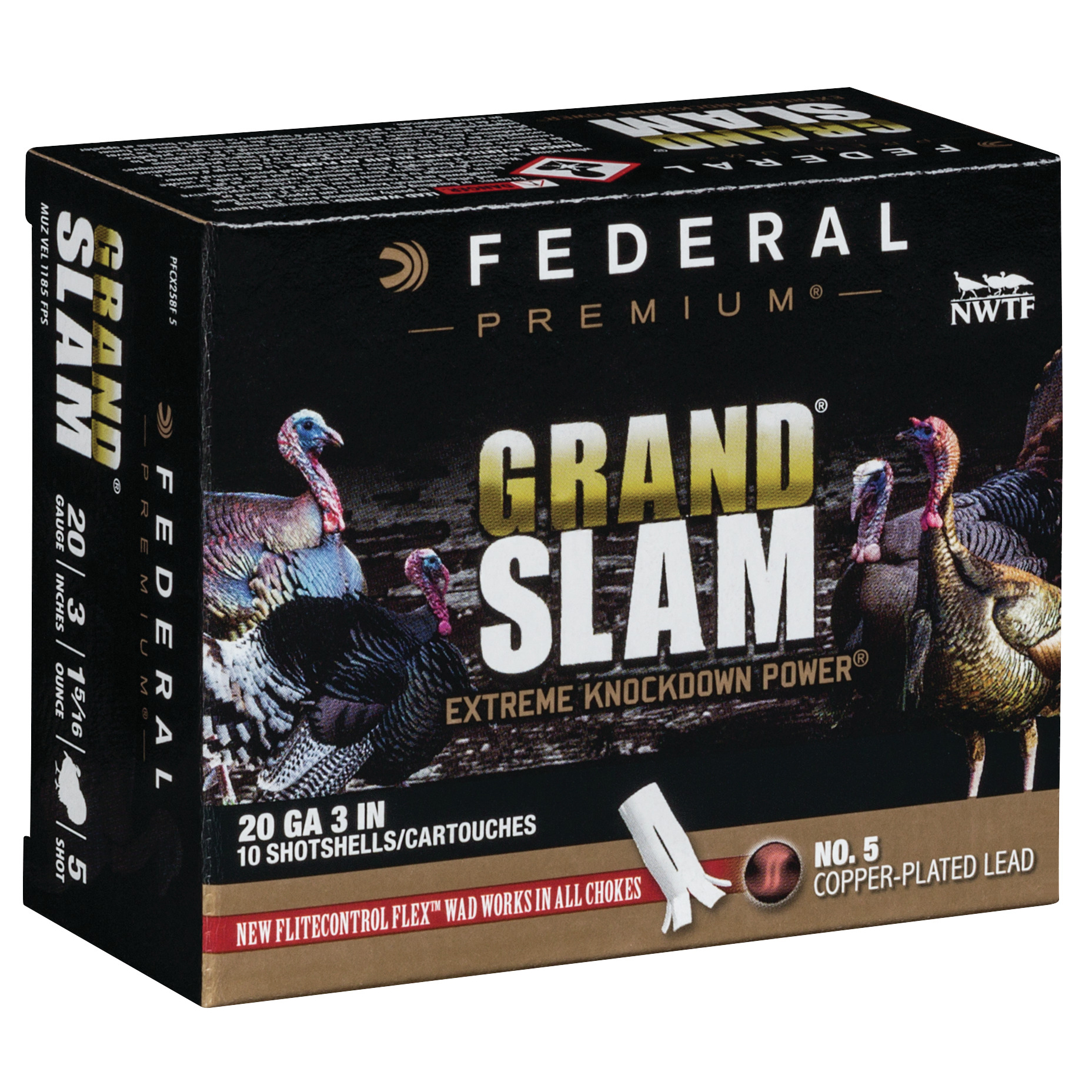 Federal Premium Grand Slam Shotshells, 20-ga, 3″, 1-5/16 oz, #5, 1185 fps