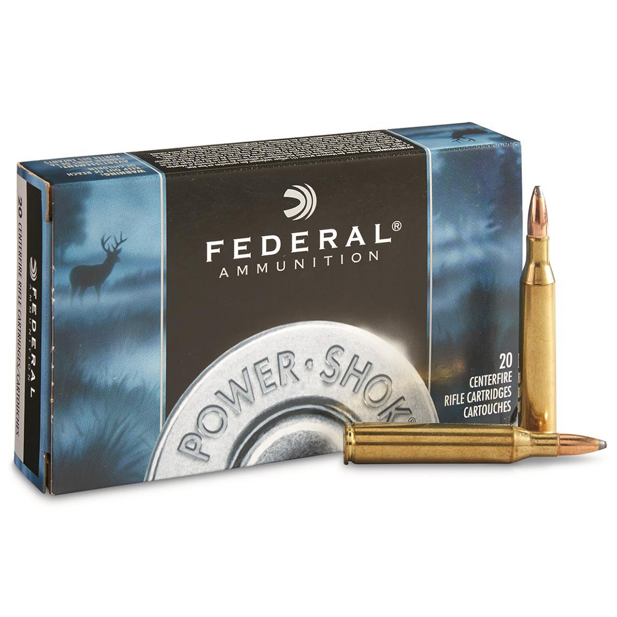 Federal Power-Shok Rifle Ammo, .243 Win, 100-gr, SP