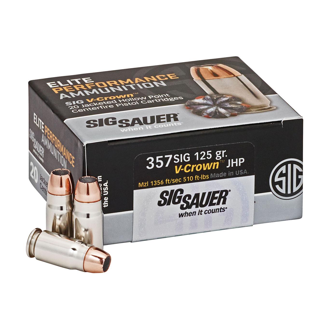 SIG Sauer Elite Performance V-Crown Ammunition, .357 SIG, 125-gr, JHP