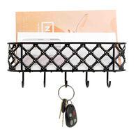 Home Basics Lattice Letter Rack with Key Hooks