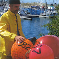"Commercial Fishing Net Buoy, Rocket Red (15"" x 21"")"