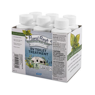 Floral Flush RV Toilet Treatment, Eucalyptus Mint, 6-Pack of 4-oz. Bottles