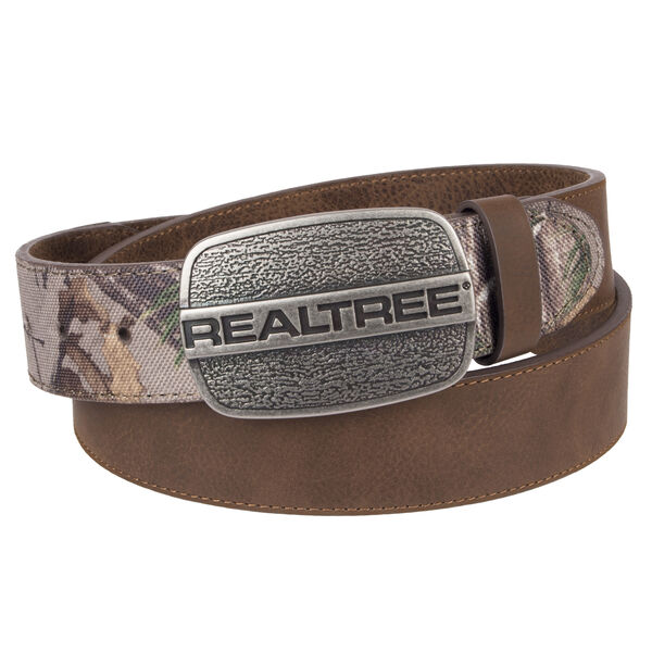 "Realtree Men's 1.5"" Leather Belt with Logo Buckle"