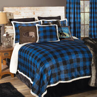 Wrangler Lumberjack Black & Blue Plaid 4-piece Sherpa King Bedding Set