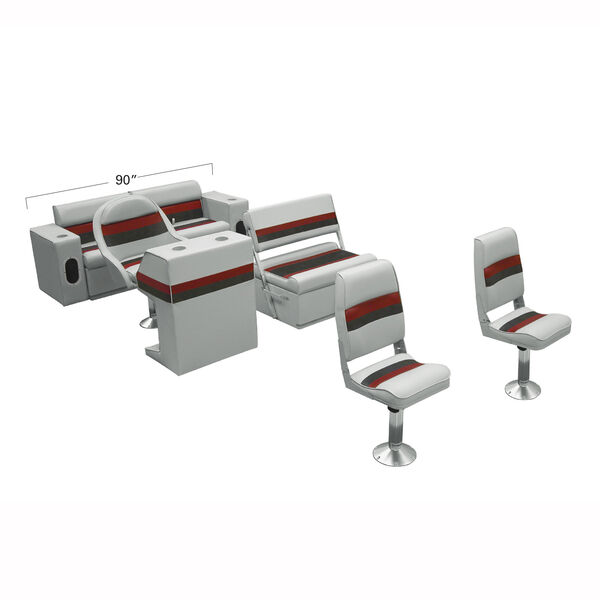 Deluxe Pontoon Furniture w/Toe Kick Base - Fishing Package, Gray/Red/Charcoal
