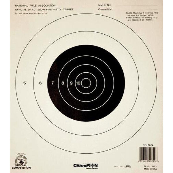 Champion Target 25 Yard Pistol Slow Fire Official NRA Targets, Paper, 12-Pack