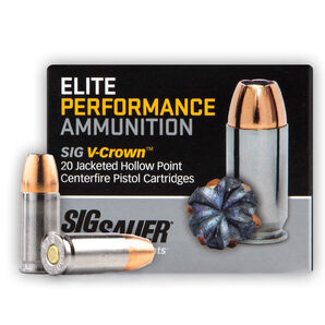 SIG Sauer Elite Performance V-Crown Ammo, .40 S&W, 165-gr., JHP