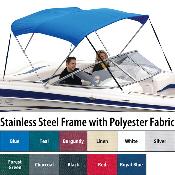 Shademate Polyester Stainless 3-Bow Bimini Top 6'L x 46''H 61''-66'' Wide