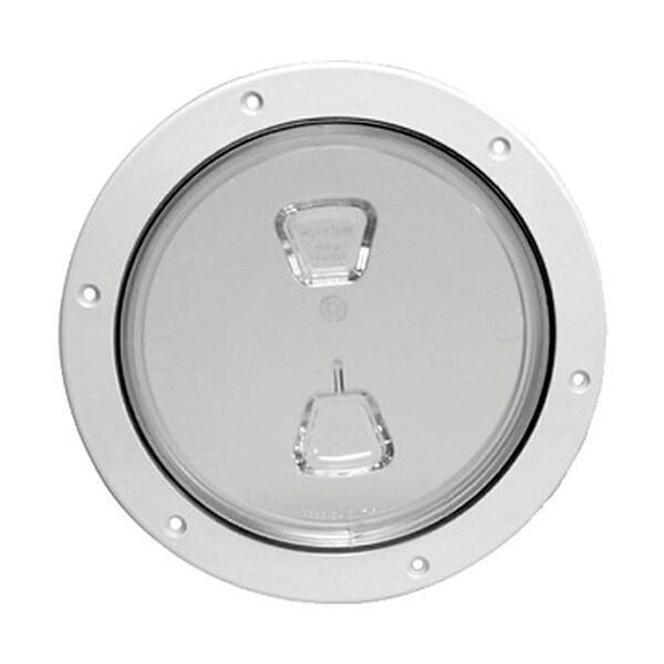 "Screw-Out 8"" White Deck Plate With Clear Center"