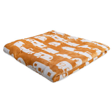 "Camco Life is Better at the Campsite Plush Fleece Blanket, 90"" x 90"", Tan"