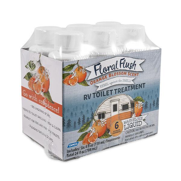 Floral Flush RV Toilet Treatment, Orange Blossom, 6-Pack of 4-oz. Bottles