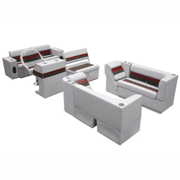 Deluxe Pontoon Seats w/Toe Kick Base, Complete Package E Plus Stand, Gray/Red/Ch