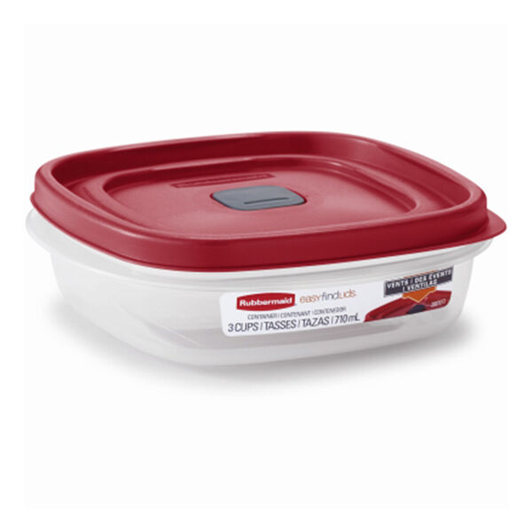 Rubbermaid 3-Cup Square Food Storage Container with Easy Find Lid