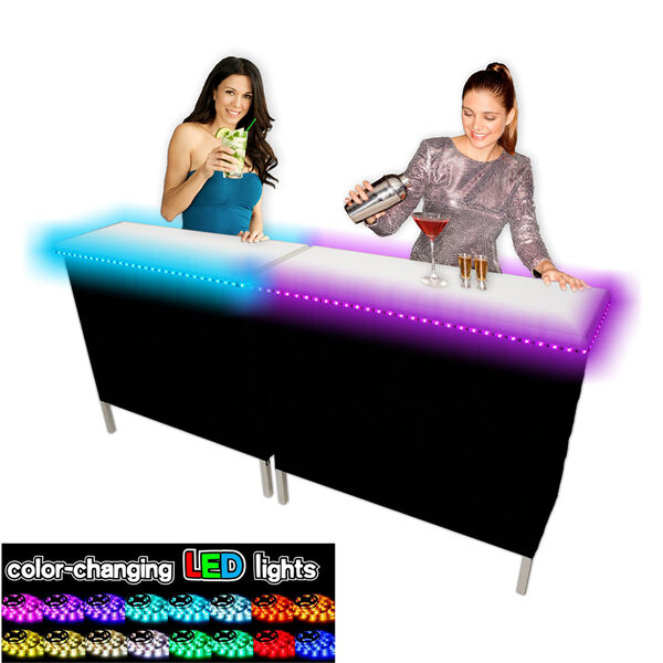 Double Party Bar Portable Bar with LED Glow Lights