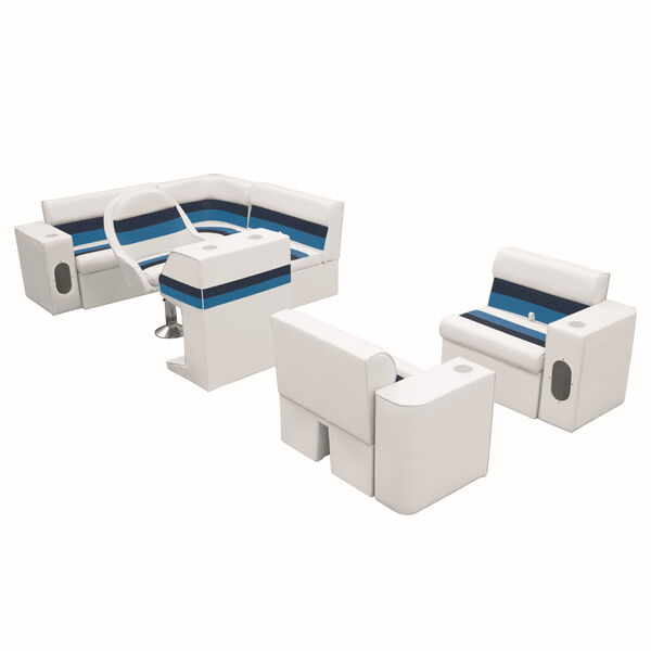 Deluxe Pontoon Furniture w/Classic Base - Complete Boat Package H, White/Nvy/Blu