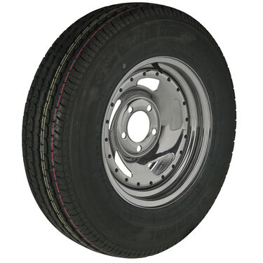Trailer King II ST215/75 R 14 Radial Trailer Tire, 5-Lug Chrome Directional Rim