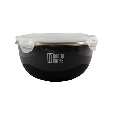 Robert Irvine 6-Piece Microwave-Safe Mixing Bowl and Lid Set, Black