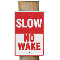 "Aluminum ""No Wake"" Dock Sign"