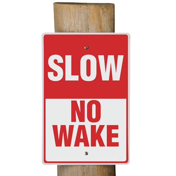 "Aluminum ""No Wake"" Dock Sign"