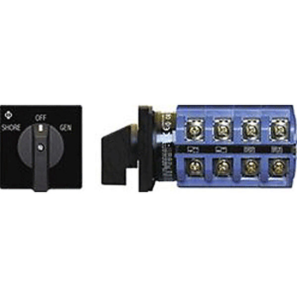 Blue Sea AC Source Selection Rotary Switch: 3 Sources, 4 Poles, 2+OFF Positions