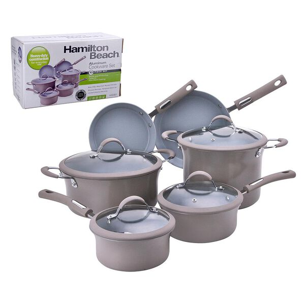 Hamilton Beach 10 Piece Aluminum Cookware Set, Taupe