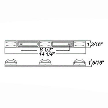 Optronics 3-Piece Identification Light Bar With Stainless Steel Base