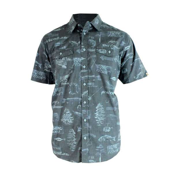 Reel Obsession Men's Boathouse Short-Sleeve Woven Shirt