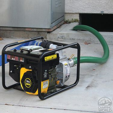 """Champion 2"""" Semi-Trash Water Transfer Pump with Hose and Wheel Kit"""