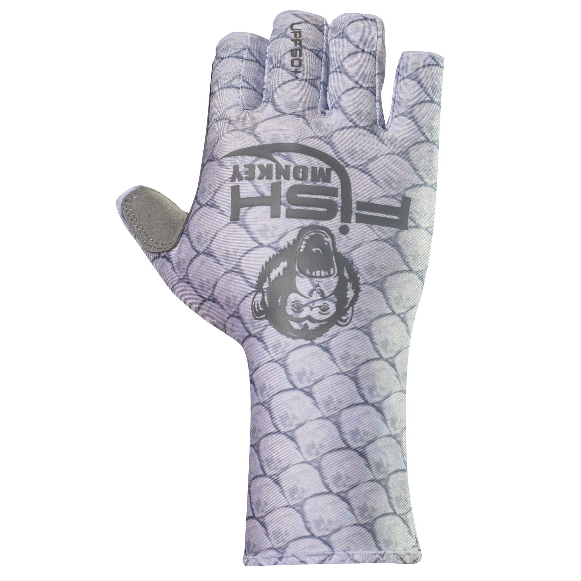 "Fish Monkey UPF 50 Sun Protection Half Finger Guide Glove Sports /"" Tarpon"