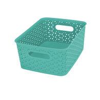 "Plastic Weave Rectangular Bin, 10""L x 8""W x 4""H, Teal"