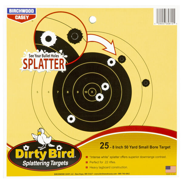 Birchwood Casey Dirty Bird Small Bore Bullseye Target, 8""