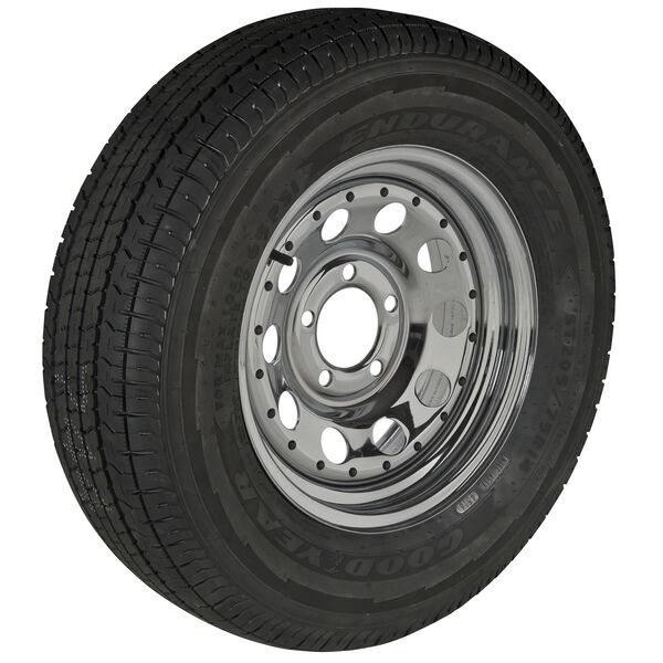 Goodyear Endurance ST205/75 R 15 Radial Trailer Tire, 5-Lug Chrome Modular Rim