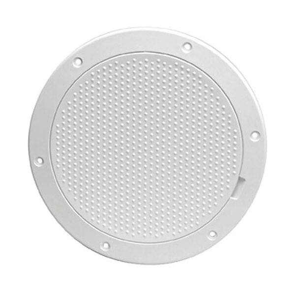 "Pry-Out 8"" White Deck Plate With Non-Skid Center"