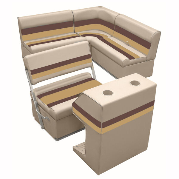 Deluxe Pontoon Furniture w/Toe Kick Base - Rear Group 3 Package, Sand/Chest/Gold