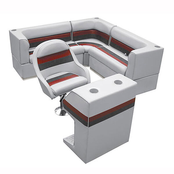 Deluxe Pontoon Furniture w/Toe Kick Base - Rear Group 4 Package, Gray/Red/Charco
