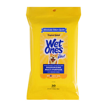 Wet Ones for Pets Deodorizing Multipurpose Dog Wipes with Baking Soda, Tropical Splash Scent, 30-Count