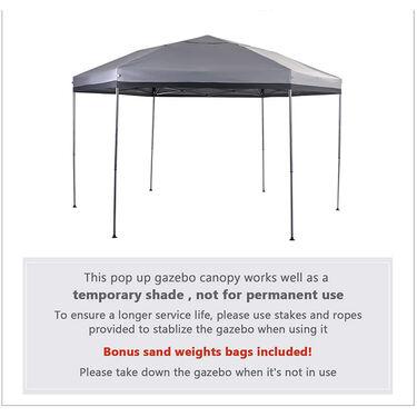 Hexagon Pop Up Canopy 12' x 10' Tent, Gray