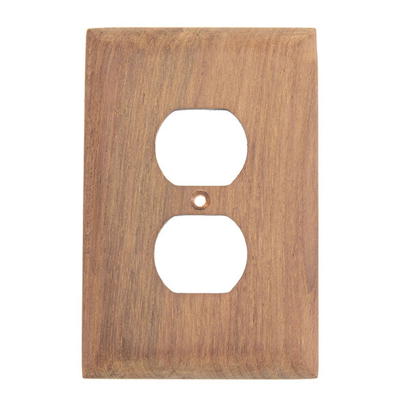 Whitecap Teak Teak Outlet Cover, Receptacle Plate