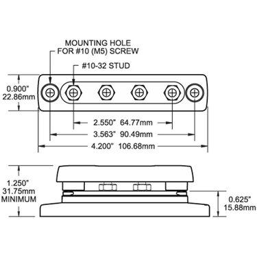 Blue Sea MiniBus 100-Amp Common Busbar, (4) #10-32 Terminal Studs w/Cover