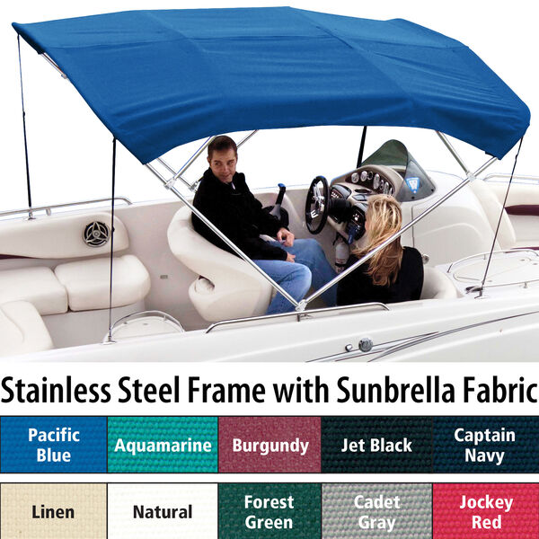Shademate Sunbrella Stainless 4-Bow Bimini Top 8'L x 54''H 73''-78'' Wide