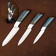Three Piece Ceramic Kitchen Cutlery Set With Counter Top Knife Holder