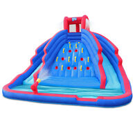 Sunny & Fun Inflatable Water Park with Climbing Wall and Dual Slides