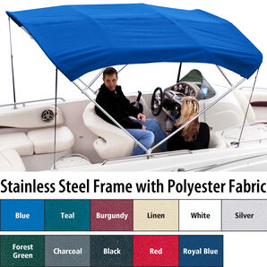 Shademate Polyester Stainless 4-Bow Bimini Top 8'L x 54''H 91''-96'' Wide