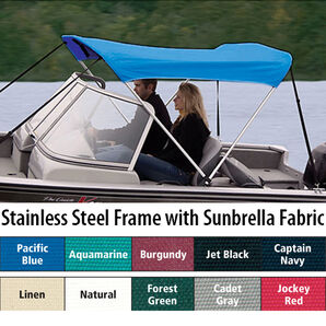 Shademate Sunbrella Stainless 2-Bow Bimini Top 5'6''L x 42''H 67''-72'' Wide