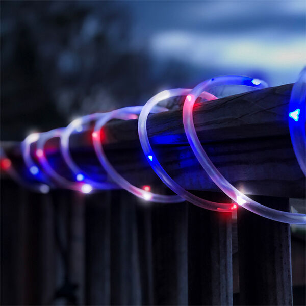 Flipo Red, White, and Blue 100-LED Solar Rope Lighting, 33'