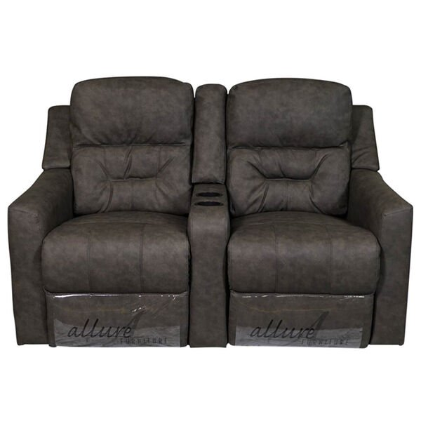 "Allure Furniture 60"" Power-Recline Theater Seating with Entertainment Console"