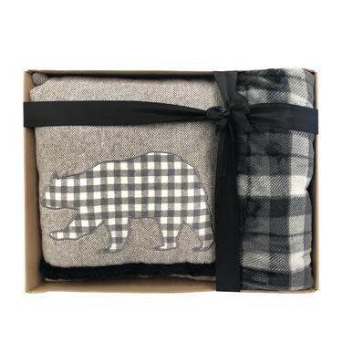 Decorative Pillow & Throw Gift Set – Bear Plaid